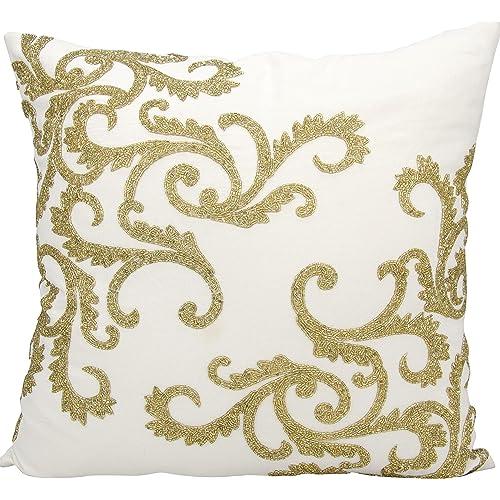 33c59bae92a5 Nourison Mina Victory E0943 Beaded Corner Scroll Decorative Pillow