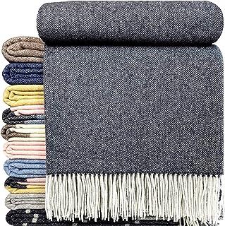 Kaschmir Wolldecke Decke 140x200  Kuscheldecke Wohndecke Luxus Grau-Weiß