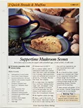 Great American Home Baking Recipe Card: 2 Quick Bread & Muffins - Card 27 Suppertime Mushroom Scones (Replacement Page or Recipe Card For 3-Ring Binders)
