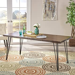 Christopher Knight Home Aneissa Industrial Faux Live Edge Rectangular Dining Table, Natural, Black