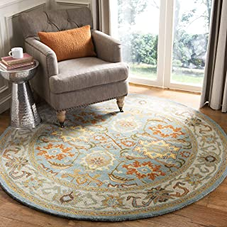 Safavieh Heritage Collection HG734A Handcrafted Traditional Oriental Light Blue and Ivory Wool Round Area Rug (10' Diameter)