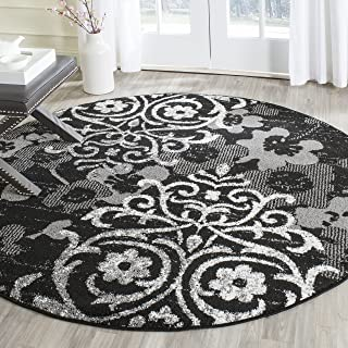 Safavieh Adirondack Collection ADR114A Black and Silver Contemporary Chic Damask Round Area Rug (6' Diameter)