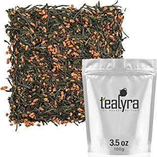 Tealyra - Gen Mai Cha Supreme - Japanese Loose Leaf Tea - Organically Grown - Genmaicha Green Tea with Brown Roasted Rice - Caffeine Level Low - 100g (3.5-ounce)