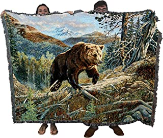 Pure Country Weavers Over The Top Brown Bear by Terry Doughty Blanket Throw Woven from Cotton - Made in The USA (72x54)