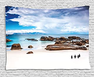 Ambesonne Sea Animals Decor Collection, Wild South African Colony Penguins Walking On The Beach Coast Waddle, Bedroom Living Room Dorm Wall Hanging Tapestry, 80W X 60L Inch