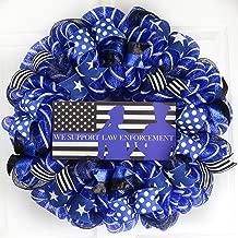Police Officer Door Wreath | Hero Law Enforcement Support Mesh Wreath | Blue Black White