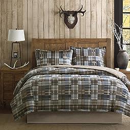 Plaid Bedroom Comforter Set Down Alternative Hypoallergenic All Season