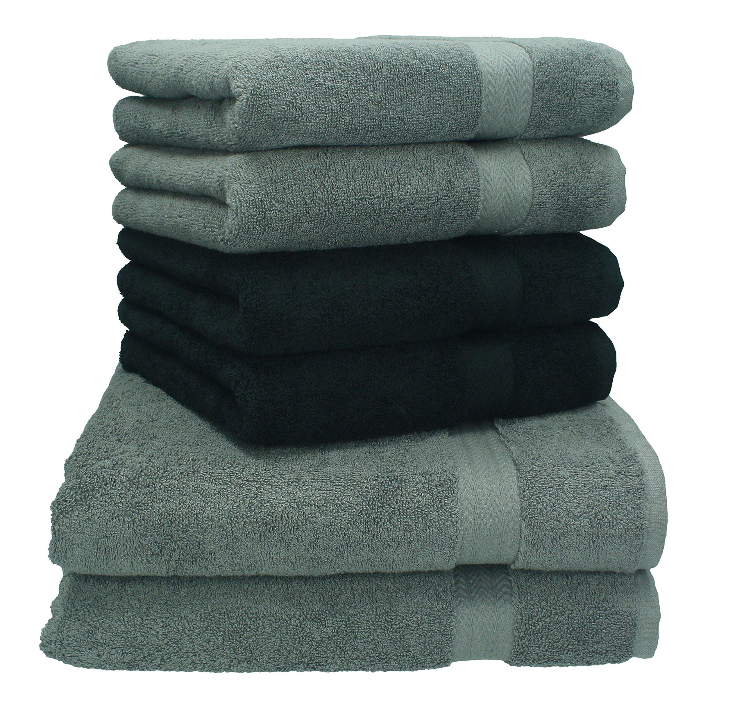 Betz Juego de Toallas de 6 Piezas Toalla de baño Ducha Mano Premium 100% algodón 2 Toallas de baño 4 Toallas de Mano de Color Negro y Gris Antracita: Amazon.es: Hogar