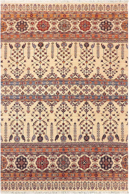 Classic Southwestern Khurgeen Glenn Beige Blue Max 59% OFF Wool Rug x 5'9'' 7'5'' -