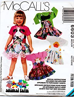 McCall's 6603 Girls Animal Farm Knit Dress Sewing Pattern Size 2-3