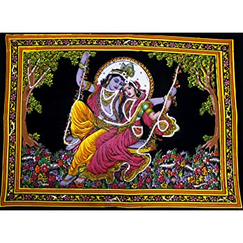 Radha Krishna Wall Hanging Tapestry Bohemian Hippie Poster FashionShopmart FSP0002 Wall Decor Radha Krishna Tapestry Indian Poster Indian Radha Krishna Cotton Twin Size Multi-Purpose Handmade Spiritual Tapestries