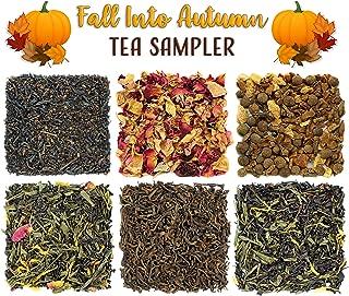 Fall Into Autumn Loose Leaf Tea Sampler; Variety of 6 Assorted Black, Green, Herbal Teas