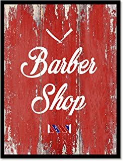 Barber Shop Quote Saying Canvas Print Home Decor Wall Art Gift Ideas, Black Frame, Red, 7