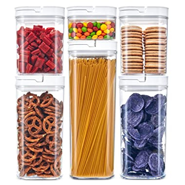 DuraHome FLiPLOCK Airtight Food Storage Containers 6 Piece Set - BPA Free Durable Clear Acrylic Container with Innovative Air Tight Handle Lid for Dry Goods Pantry Organization (Square)