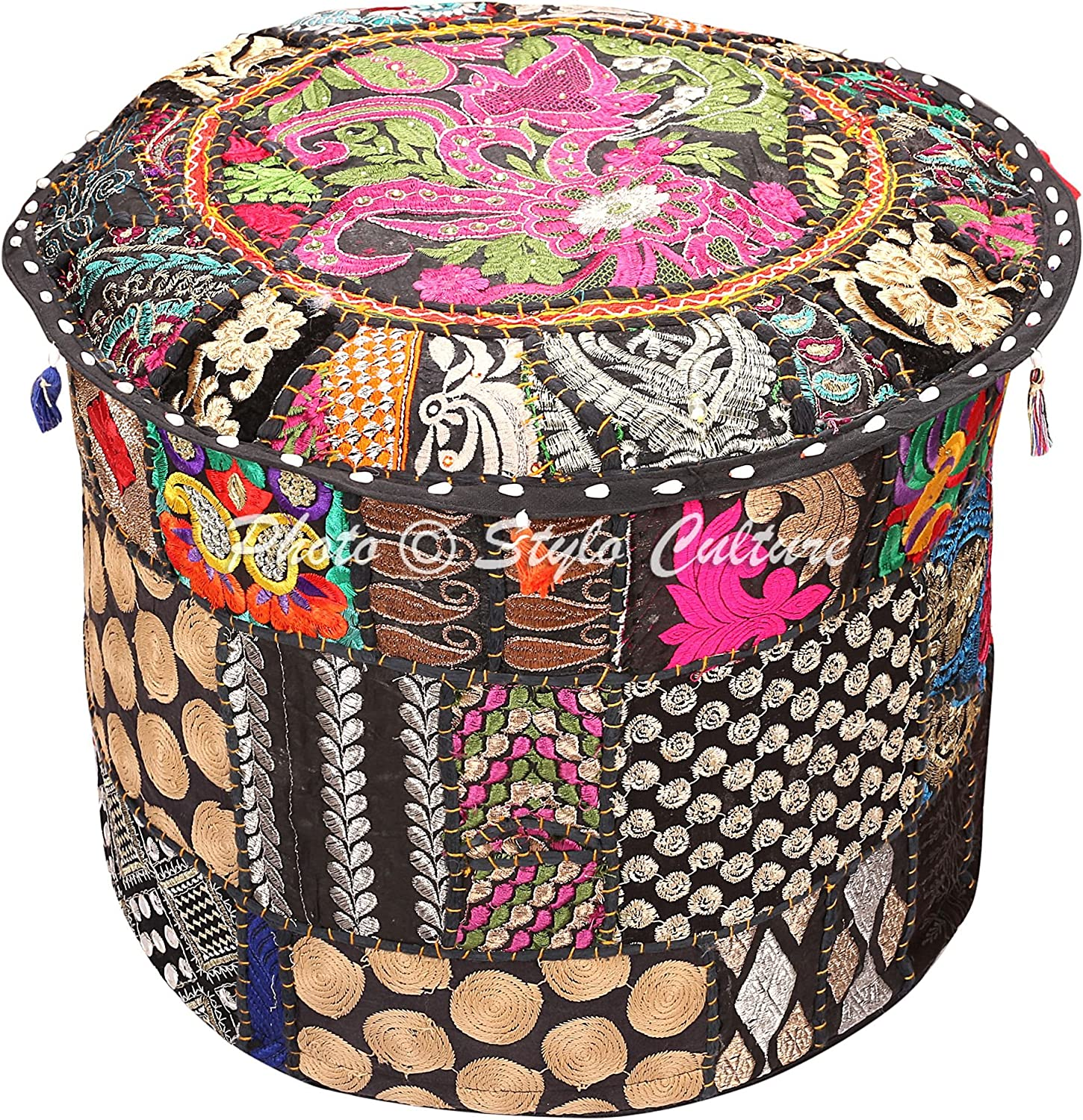 Stylo Culture Indian Floor Ottoman Pouf Round Patchwork Cheap SALE Start Em Cover 55% OFF