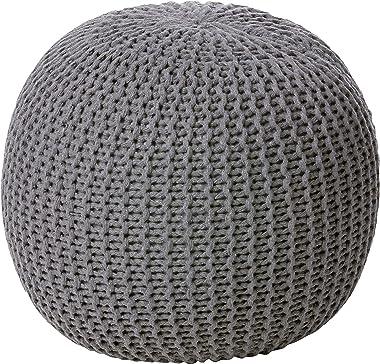 Urban Shop Round Knit Pouf - Hand Woven Cotton, Grey