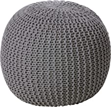 Urban Shop Round Knit Pouf – Hand Woven Cotton, Grey