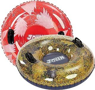 """لوله های برفی شفاف JOYIN 34 """"(2 بسته) ، لوله برفی سنگین برای سورتمه سواری ، لوله های برفی بادی عالی برای سرگرمی زمستانی و فعالیت های خانوادگی"""