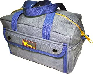 G & F 10095 Government Issued Style Mechanics Heavy Duty Tool bag with Brass zipper and side pockets, tool bag for cars, drill, garden and electrician. Navy Blue