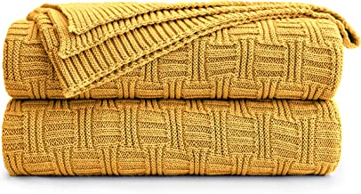 Large 100% Cotton Yellow Cable Knit Throw Blanket for Couch Sofa Bed with Bonus Laundering Bag – Large 60 x 80 Thick, 3.4 ...