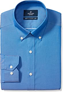 Amazon Brand - BUTTONED DOWN Men's Tailored Fit Button-Collar Solid Pinpoint Dress Shirt, Supima Cotton Non-Iron