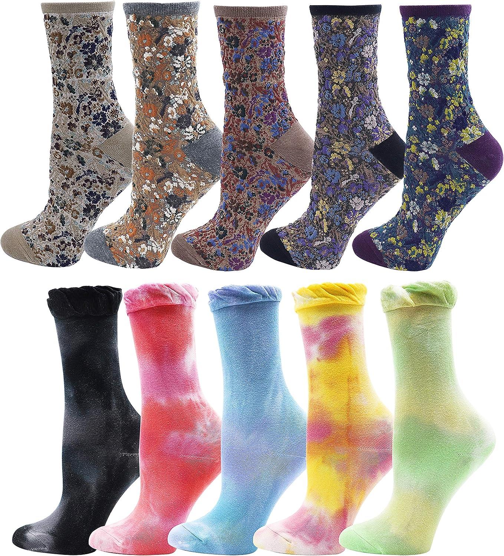 Lovful Tie Dye Socks Women, Novelty Vintage Dress Socks, 10 Pairs