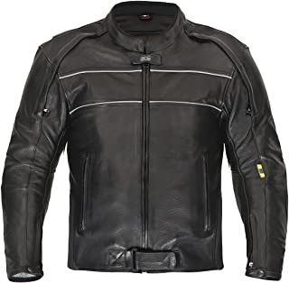XLS Hochwertige Motorradlederjacke schwarz (XXXXL)