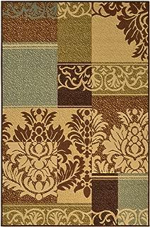 Ottomanson Ottohome Collection Contemporary Damask Design Non-Skid (Non-Slip) Rubber Backing Area Rug, 5' X 6'6