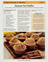 Great American Home Baking Recipe Card: 2 Quick Bread & Muffins - Card 6 Banana Nut Muffins (Replacement Page or Recipe Card For 3-Ring Binders)