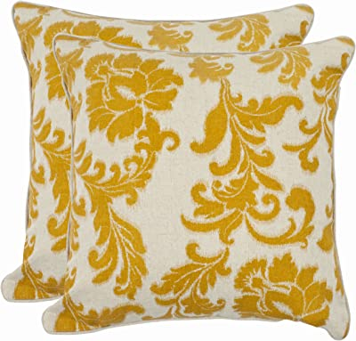 Safavieh Pillow Collection 22-Inch Acanthus Leaves Pillow, Ivory and Gold, Set of 2