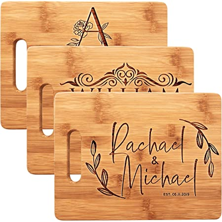 Wedding 5th Anniversary Engraved Gift Gifts for Couples Chopping Personalised Engraved Bamboo Wedding Serving Board Bread Bespoke