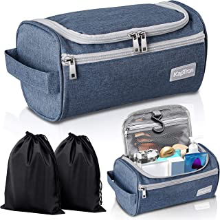 Travel Toiletry Bag - Small Portable Hanging Cosmetic Organizer for Men Women, Makeup, Toiletries, Hygiene Accessories, Shaving Kit, Clippers and Grooming Tools, Waterproof, Bathroom, Shower, Gym BLUE