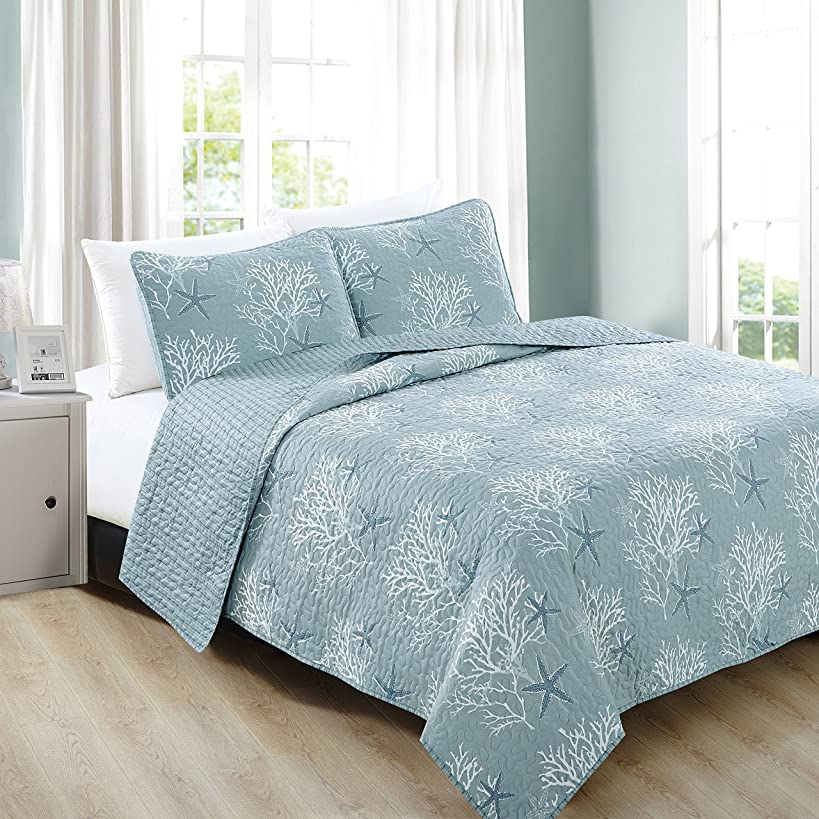 Home Fashion Designs 3-Piece Coastal Beach Theme Quilt Set with Shams. Soft All-Season Luxury Microfiber Reversible Bedspread and Coverlet. Fenwick Collection Brand. (King, Ether Blue)