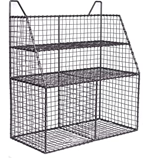 BirdRock Home Wire Wall Organizer - Wall-Mounted Shelves - Multiple Basket Compartments - Metal Storage Rack - Hanging Bin - Industrial Design - Dividers