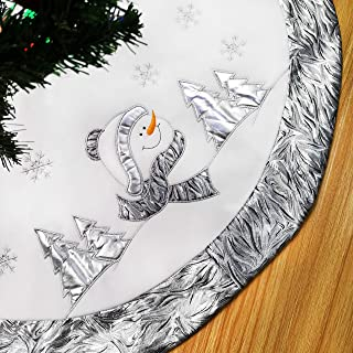 WEWILL 36'' Luxury Silvery Christmas Tree Skirt with Satin Border Embroidered Snowman Snowflake, Xmas Tree Skirt Themed with Christmas Stockings(Not Included)