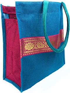 Reusable Grocery Bag Burlap Multipurpose Designer Shopping Tote Beach Bag with Inside Pocket, Zippers made from Heavy Duty Organic Biodegradable Eco-friendly Jute -Saree (Blue)