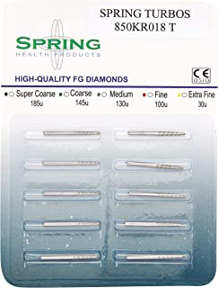 Spring Health Products 850KRT018T10 FG Turbo Modified Shoulder Diamond Bur (Pack of 10)