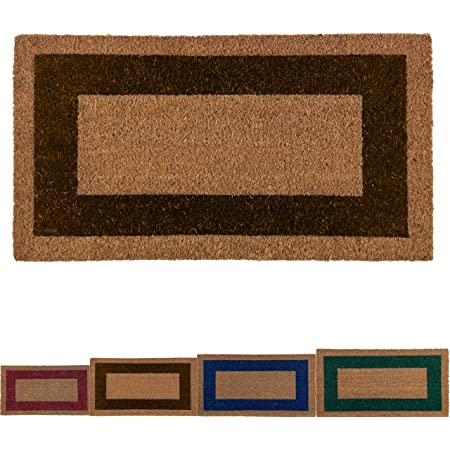 LucaHome - Felpudo de Coco Natural Cenefa de Colores con Base Antideslizante, Felpudo de Coco Liso Ideal para Interior y Exterior (Marron, 40 x 70 cm)