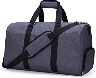 MIER Gym Duffel Bag for Men and Women with Shoe Compartment, Carry On Size, 20 Inches, Sets of 2 (Large and Small), Grey