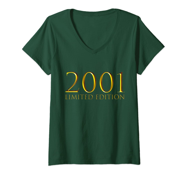 Donna 19 Anni Compleanno Ragazzo Uomo Donna Regalo Anno 2001 Maglietta con Collo a V