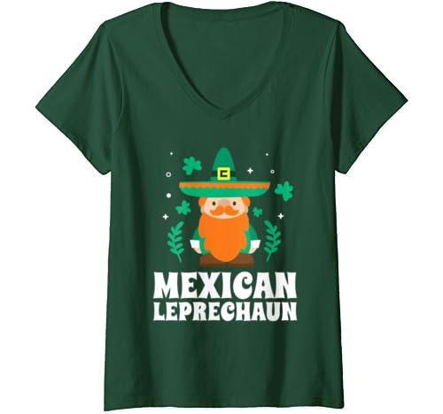 Womens Mexican Leprechaun Funny St Patricks Day 2020 V Neck T Shirt