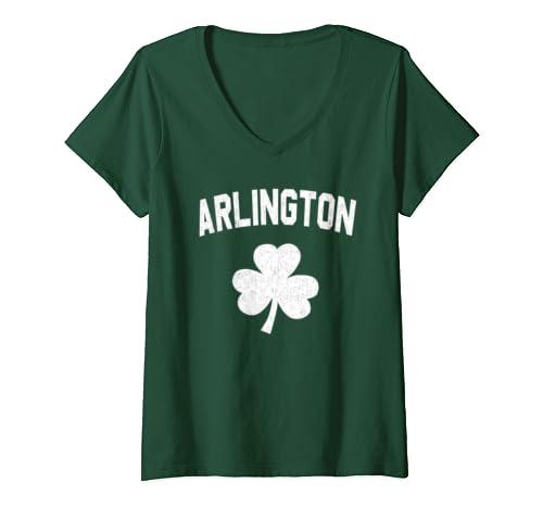 Womens Irish American Shamrock Arlington St Patricks Day V Neck T Shirt