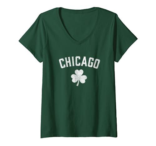 Womens Chicago; St Patrick's day tshirt - Patty's day shamrock  V-Neck T-Shirt