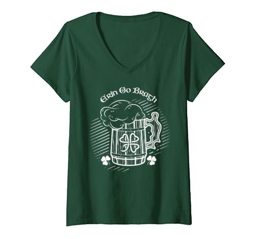 Womens Erin Go Bragh Eire Beer Stein Ireland St. Patricks Day Gift V Neck T Shirt