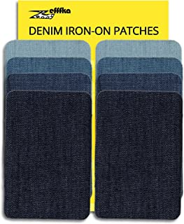 ZEFFFKA Denim Iron On Jean Patches No-Sew Shades of Blue 8 Pieces Cotton Jeans Repair Kit 5.3cm by 7.9cm