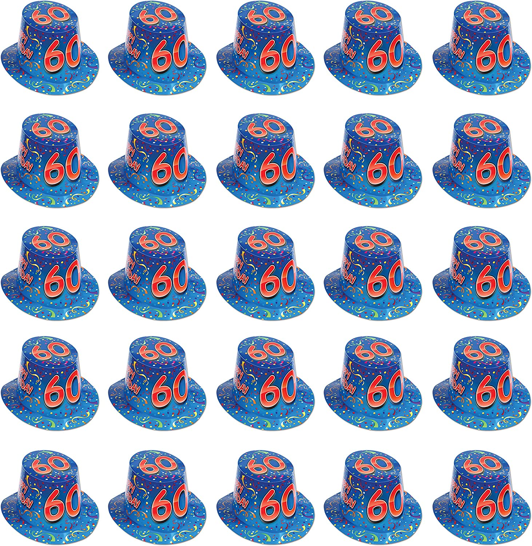 Beistle 66212-60 25-Pack Happy 60  Birthday Hi-Hat