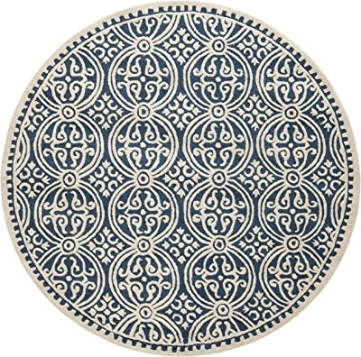 Amazon Com Safavieh Cambridge Collection Cam123g Handmade Moroccan Premium Wool Area Rug 8 X 8 Round Navy Blue Ivory Furniture Decor