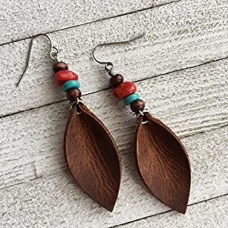 Leather Earrings for Women Southwestern Style Boho Dangle Leaf in Rustic Brown with Turquoise and Red Coral