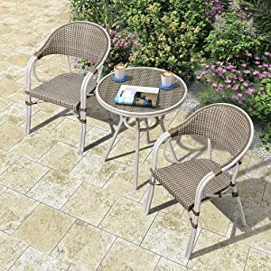 PURPLE LEAF French Patio Bistro Set Rattan Aluminum 3 Pieces with Armchairs and Tempered Glass Top Bistro Table for Patio Lawn Garden Backyard Deck Porch Balcony Outdoor Bistro Set, Beige