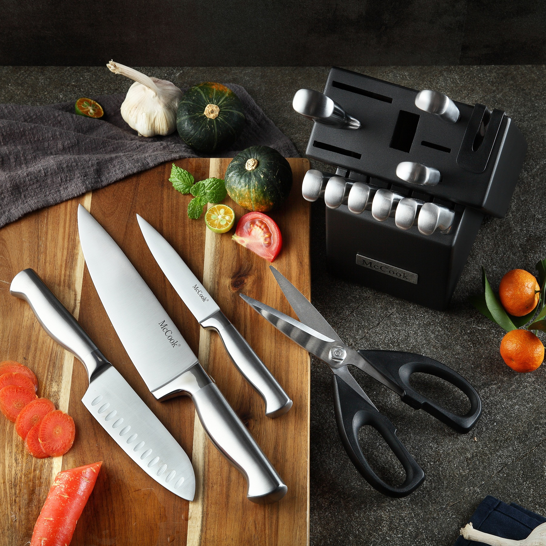 McCook-MC21-Knife-Sets15-Pieces-German-Stainless-Steel-Kitchen-Knife-Block-Sets-with-Built-in-Sharpener